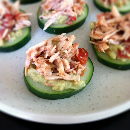 Shredded Chicken Cucumber Bites