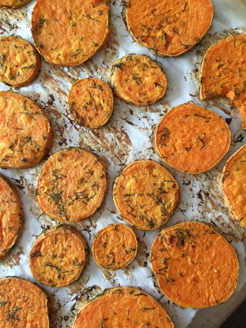 Mustard Dill Sweet Potatoes